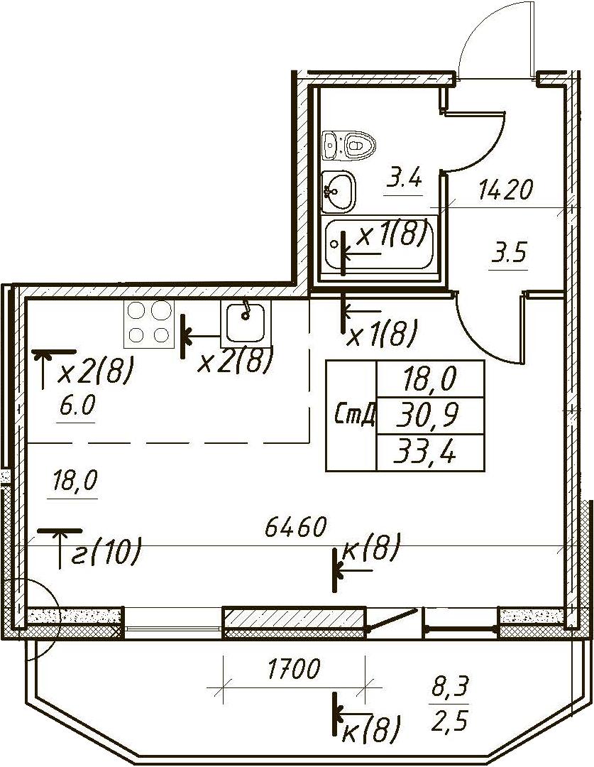 Студия, 33.4 м²