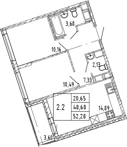 3Е-к.кв, 48.68 м², от 4 этажа