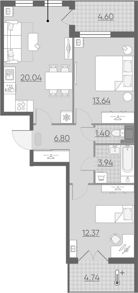 3Е-комнатная, 62.86 м²– 2