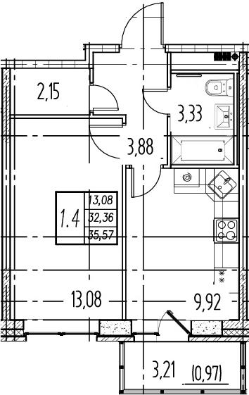 1-комнатная, 32.36 м²– 2