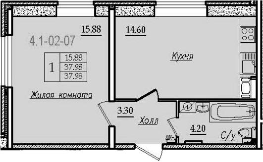 1-комнатная, 37.98 м²– 2