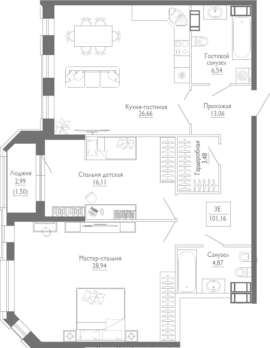 3Е-к.кв, 101.16 м², 4 этаж