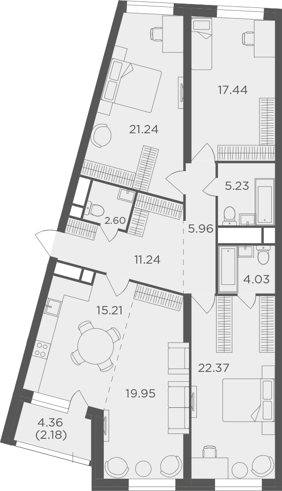 4Е-комнатная, 127.45 м²– 2