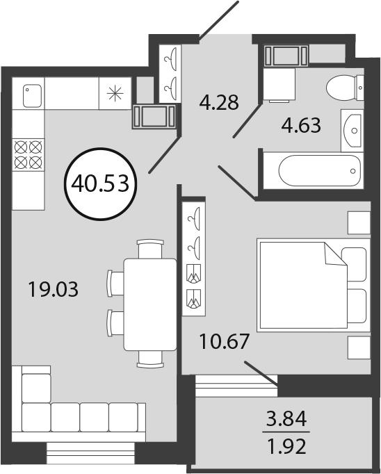2Е-комнатная, 40.53 м²– 2