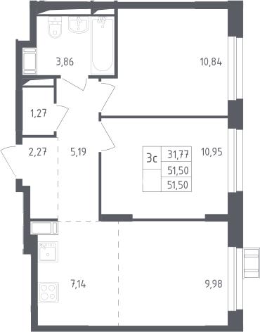 3Е-к.кв, 51.5 м², от 14 этажа