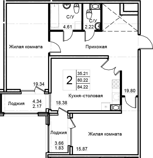 2-к.кв, 88.22 м²