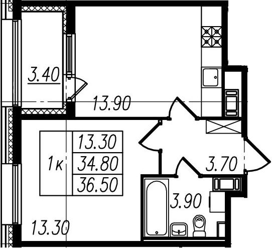 1-к.кв, 34.8 м², 4 этаж