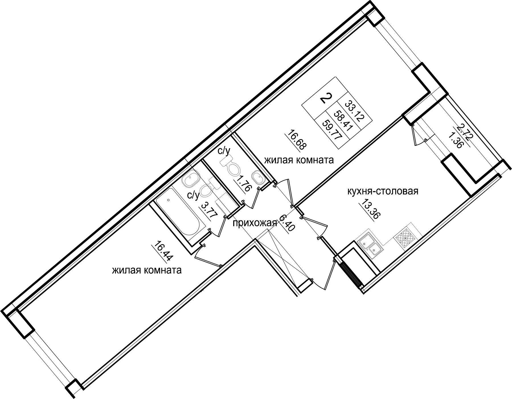 2-к.кв, 59.77 м²