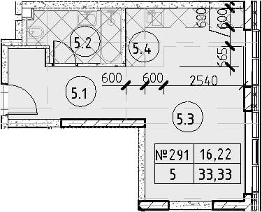 Студия, 33.33 м²– 2