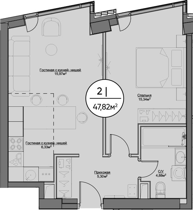 2-к.кв (евро), 47.82 м²
