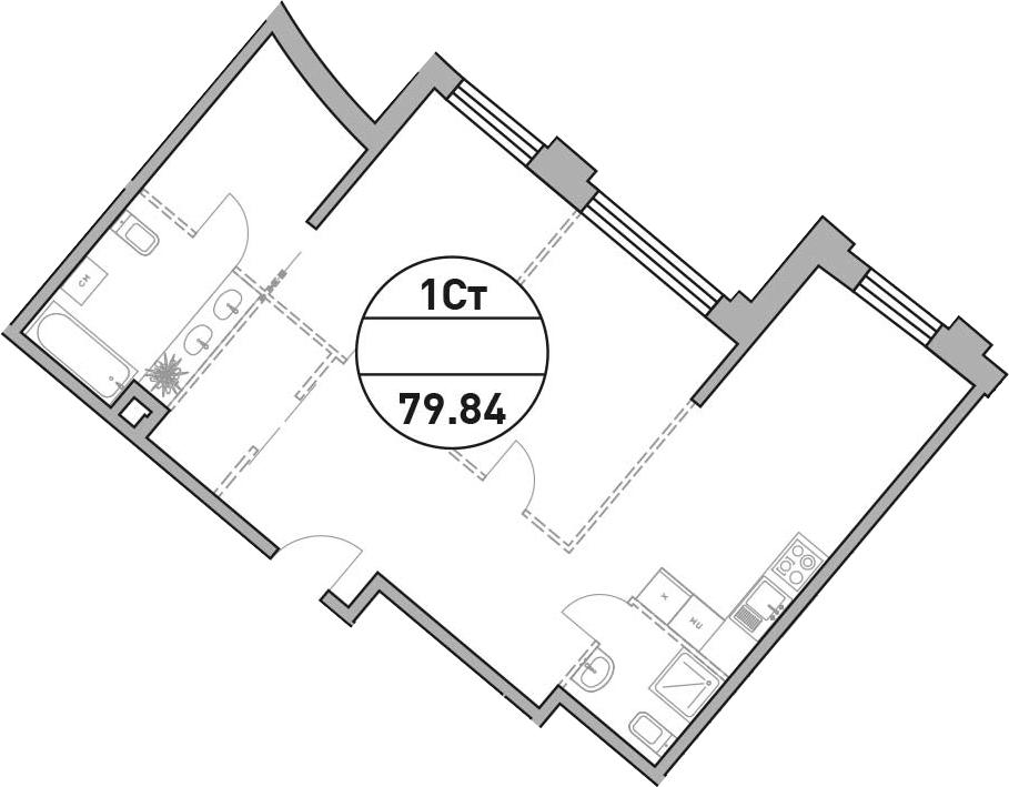 Своб. план., 78.19 м², 31 этаж