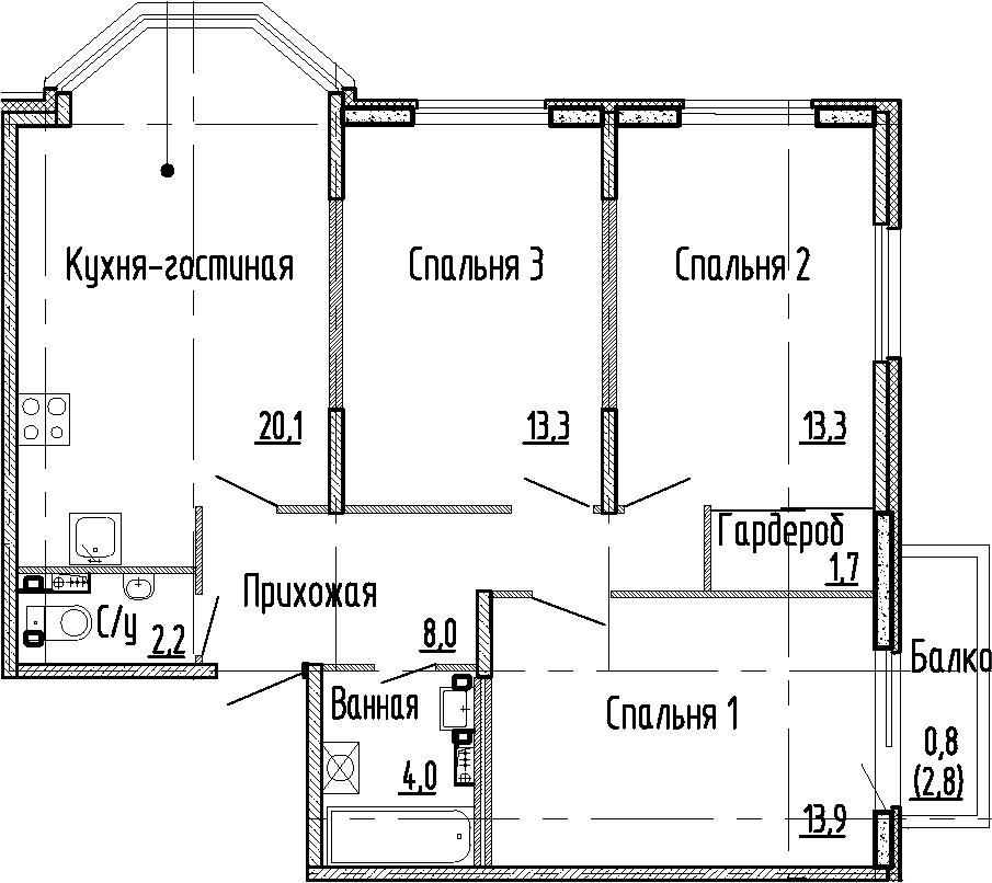 4Е-комнатная квартира, 76.5 м², 1 этаж – Планировка