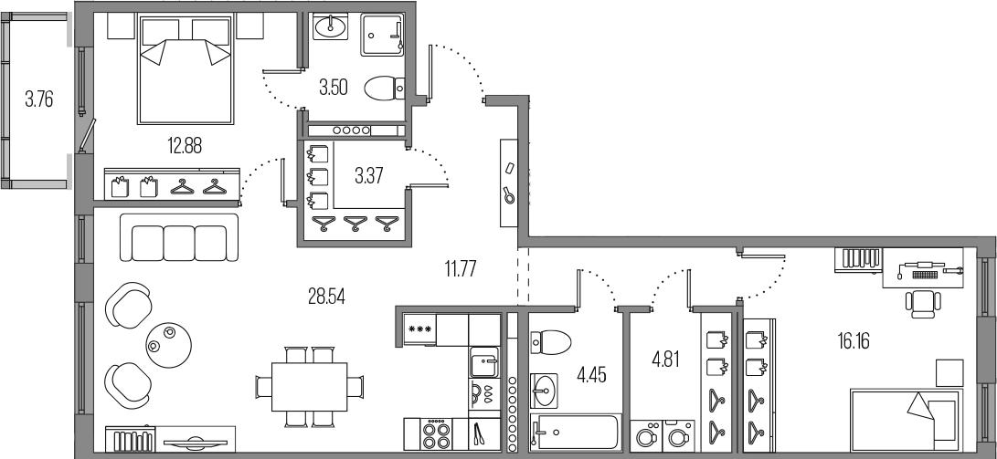 3-к.кв (евро), 89.24 м²