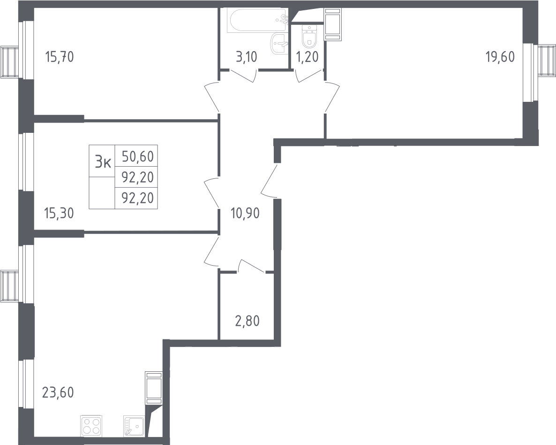 4Е-к.кв, 92.2 м², от 7 этажа