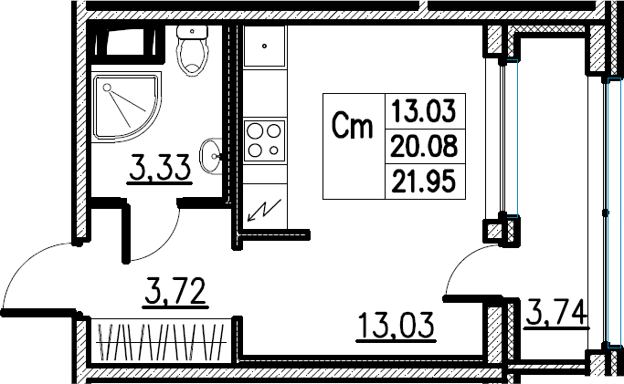 Студия, 21.95 м²– 2