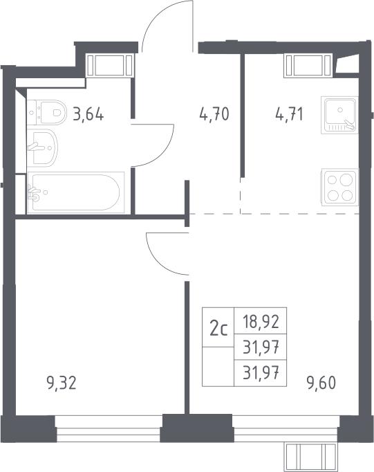 2Е-комнатная, 31.97 м²– 2