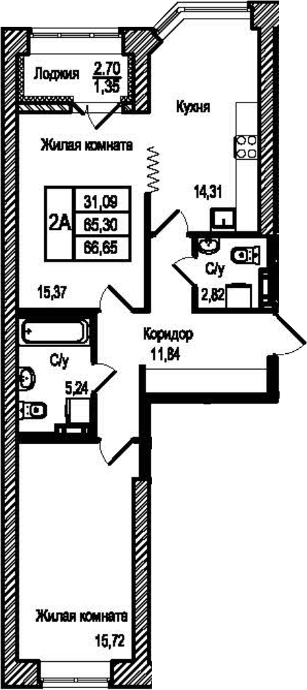 2-к.кв, 66.65 м²