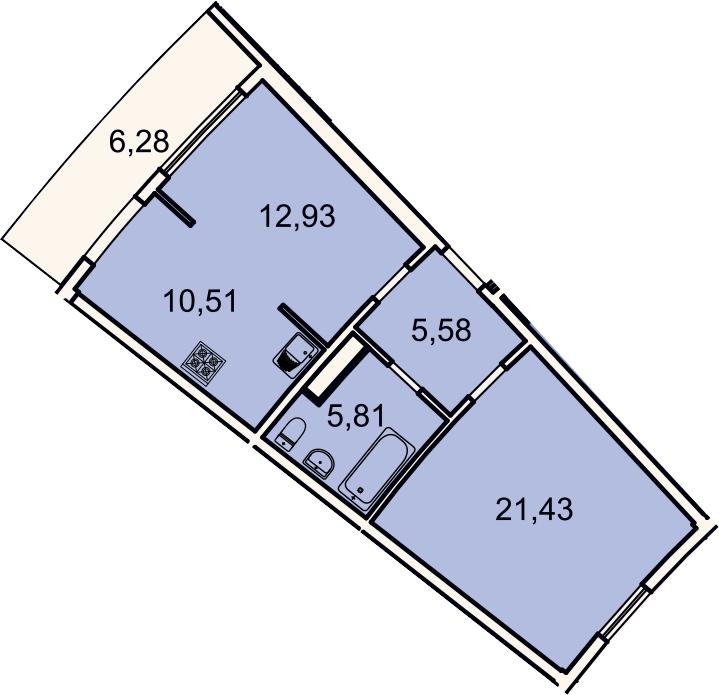 2Е-к.кв, 58.1 м², 2 этаж