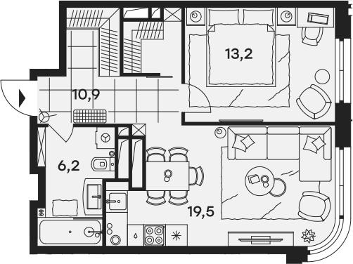 2Е-к.кв, 49.8 м²