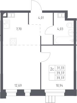 1-комнатная, 39.4 м²– 2