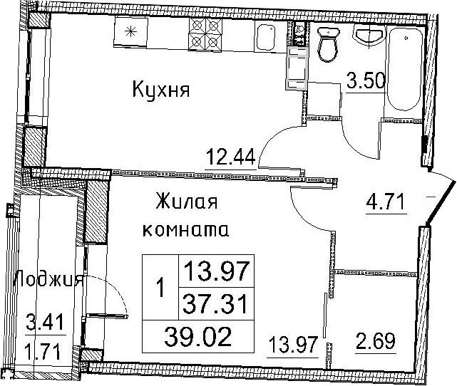 1-к.кв, 40.73 м²