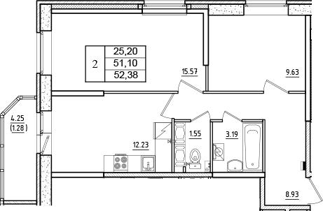 2-к.кв, 52.38 м²