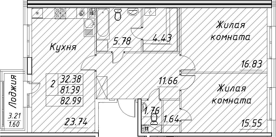 3-к.кв (евро), 84.59 м²