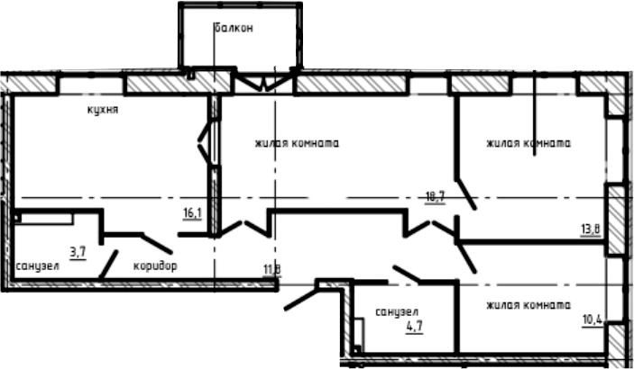 3-к.кв, 80.3 м², 2 этаж