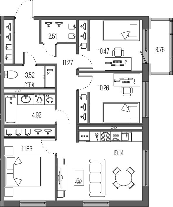 4Е-комнатная, 73.92 м²– 2