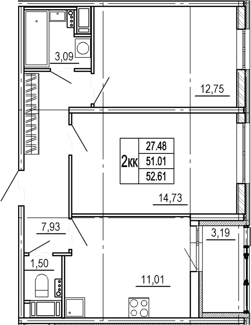 2-комнатная, 51.01 м²– 2
