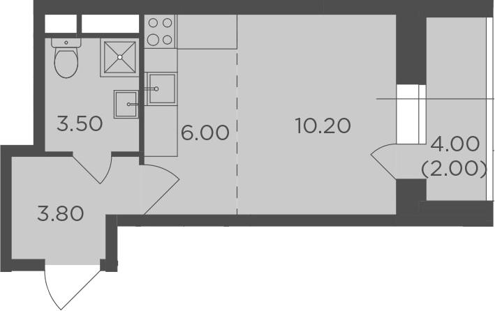 Студия, 25.5 м², 13 этаж – Планировка
