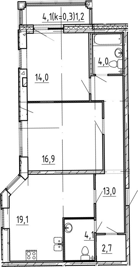3-к.кв (евро), 77.8 м²