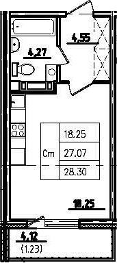 Студия, 31.17 м²