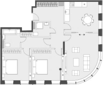Свободная планировка, 90.9 м²– 2