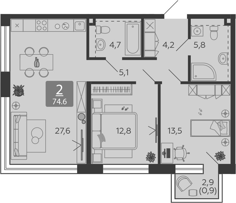 3Е-комнатная, 74.6 м²– 2
