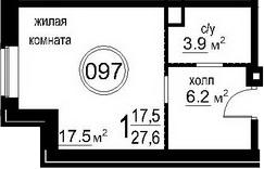Студия, 27.6 м²