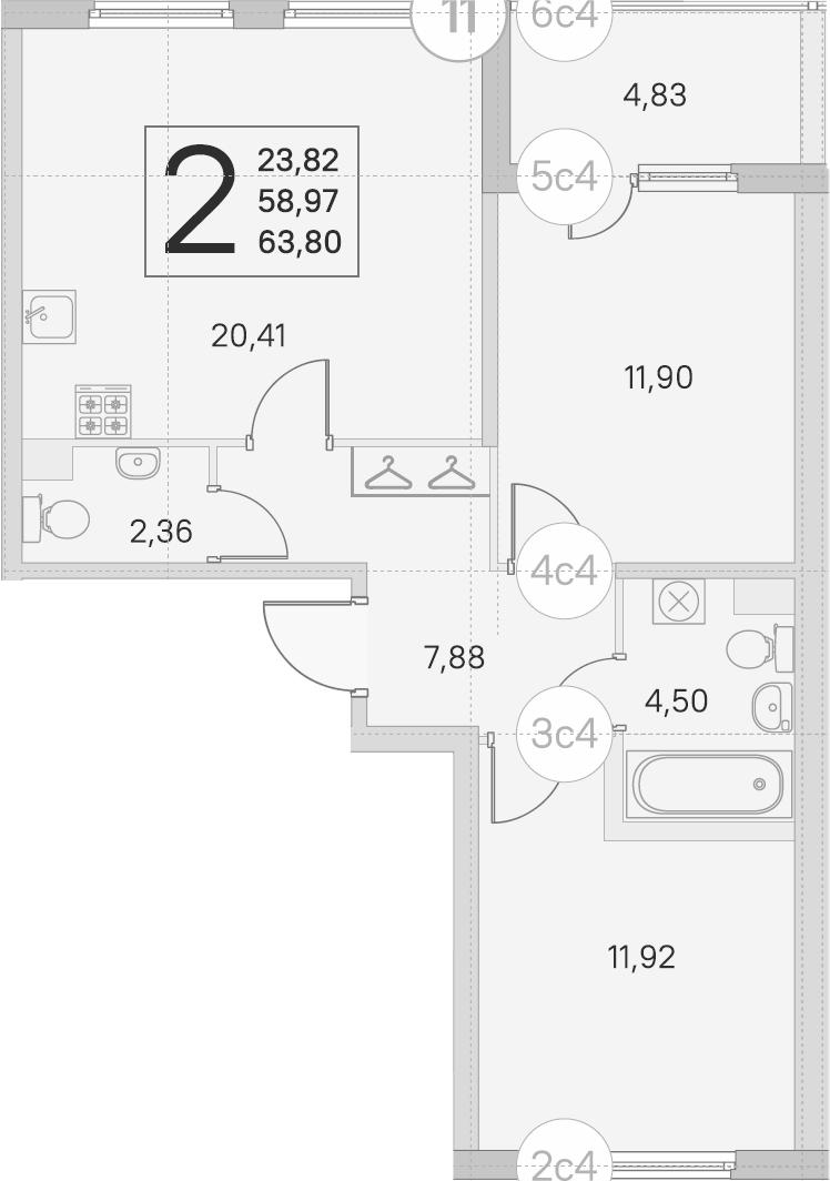 3Е-комнатная, 58.97 м²– 2