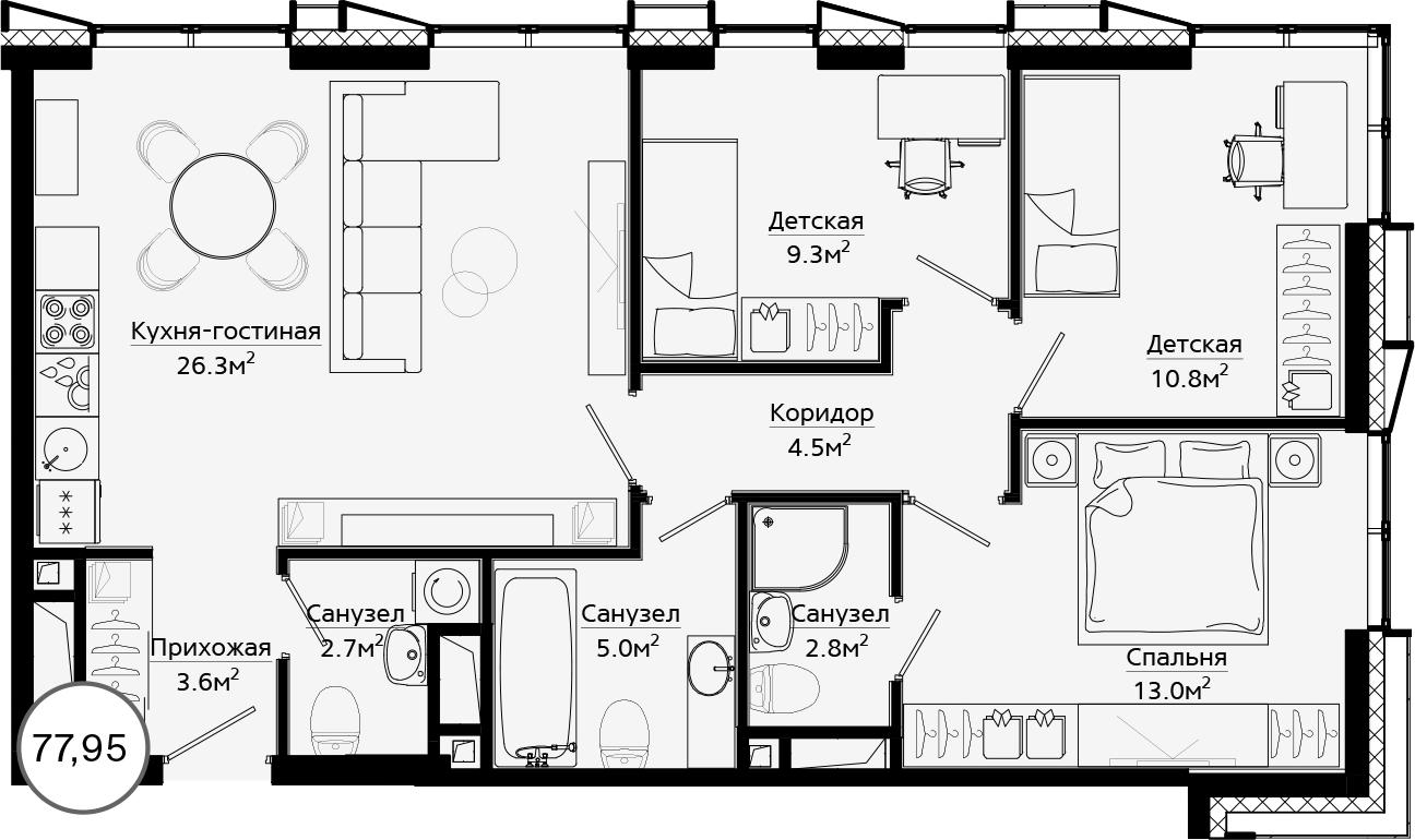 4Е-комнатная, 77.95 м²– 2