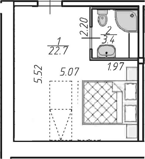 Студия, 26.1 м²– 2