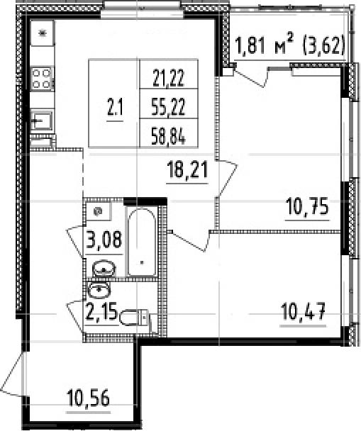 3Е-комнатная, 55.22 м²– 2