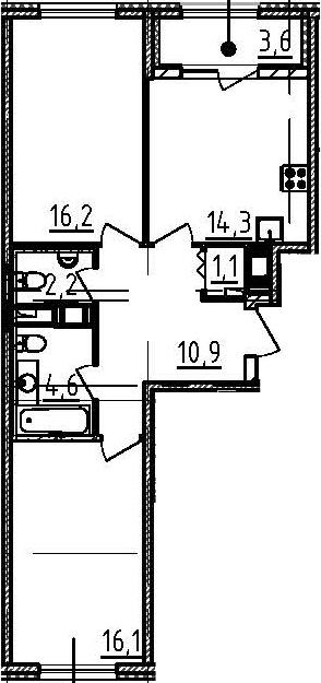 2-комнатная, 67.2 м²– 2