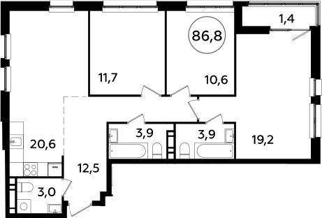 4Е-комнатная квартира, 86.8 м², 18 этаж – Планировка