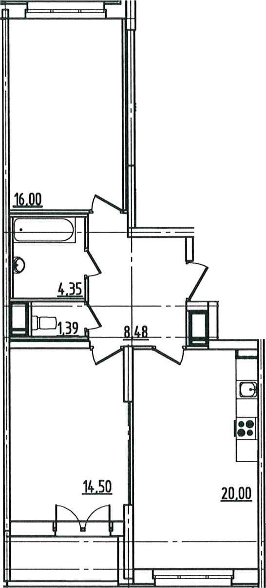 3Е-комнатная квартира, 66.51 м², 5 этаж – Планировка