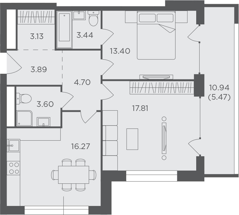 2-комнатная, 71.71 м²– 2