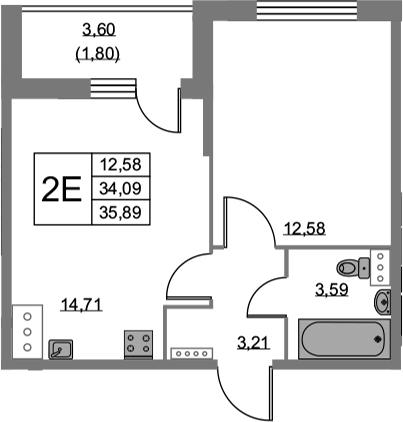 2Е-к.кв, 35.89 м², 2 этаж