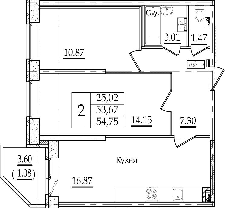 3Е-к.кв, 54.75 м²