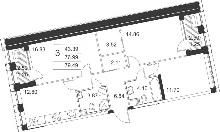 3-комнатная, 82 м²– 2