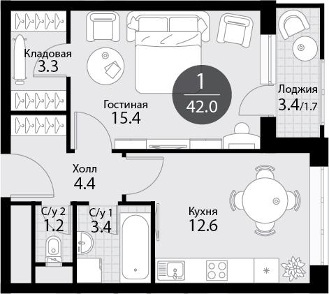 1-к.кв, 42 м²