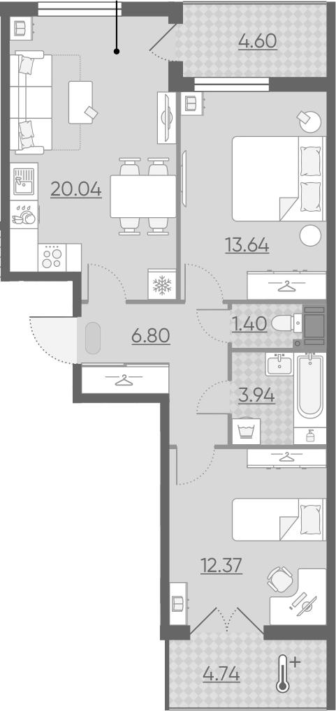 3Е-комнатная квартира, 62.86 м², 3 этаж – Планировка