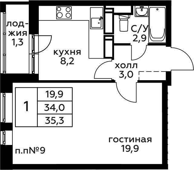 1-комнатная, 35.3 м²– 2